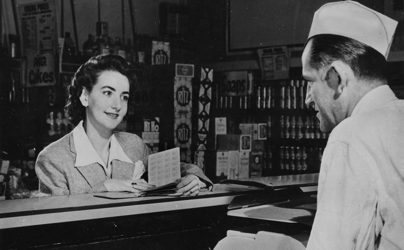 Promotional image for ration books. Circa 1941-1945.