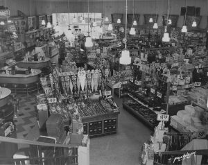 Interior of Katz drug store. Kansas City, MO. Circa 1950.