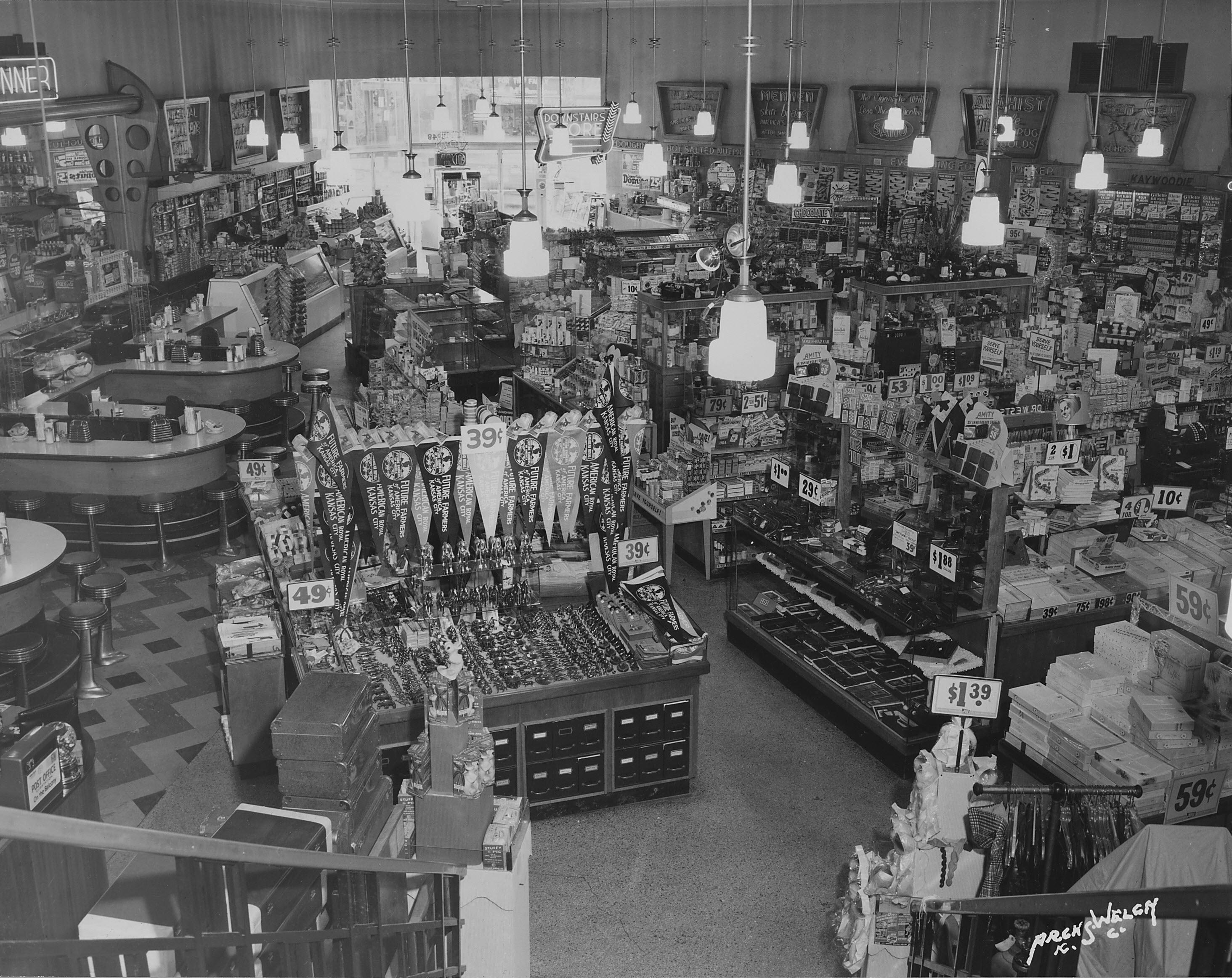 Interior of Katz drug store. Kansas City, MO. Circa 1950.