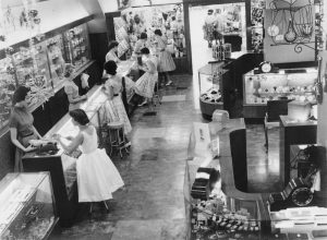 Main showroom inside F. W. Nissen jewelry store in Brisbane, Queensland, Australia. Circa 1950.